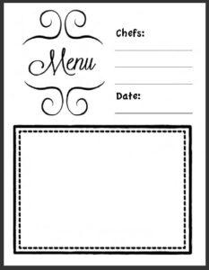 My Menu Worksheet