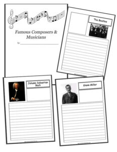 composers and musicians notebooking pages