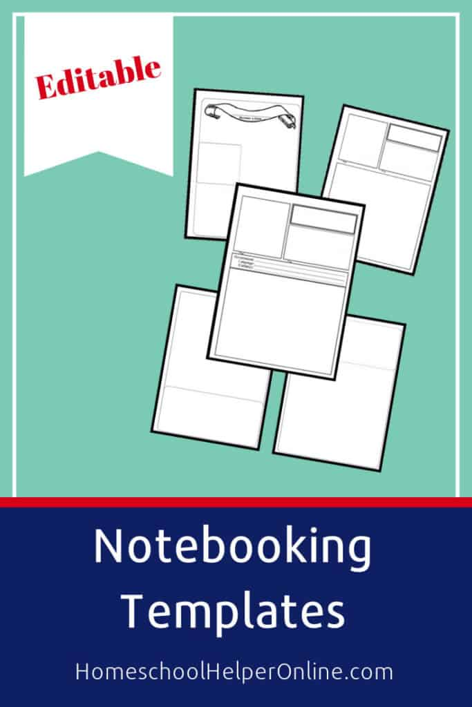 Printable pack of editable notebooking pages