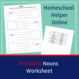 What is a noun? Printable worksheet