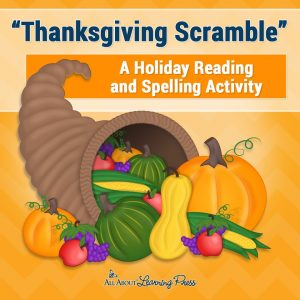 Word scramble with Thanksgiving related words