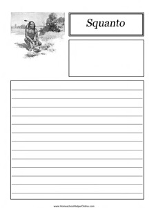 Squanto Notebooking Page